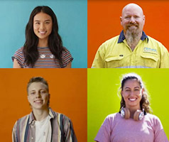 People from four different backgrounds standing in front of various coloured walls