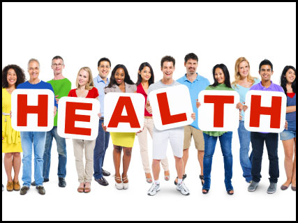 People standing together holding letters that spell the word health